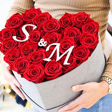 infinity-rosen geschenk herzbox